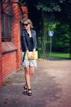 black asos jacket - chartreuse Monki bag - white Zara skirt