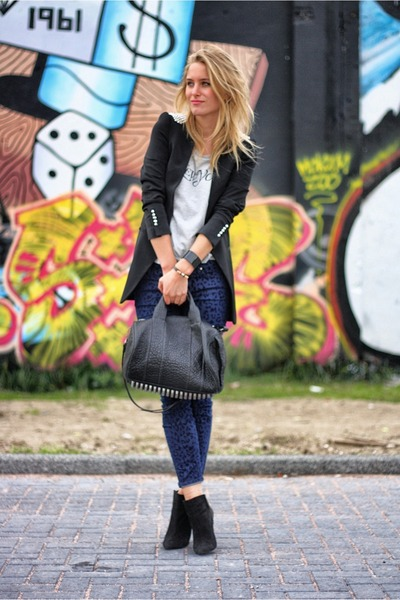 black Zara blazer - black Alexander Wang bag - navy Zara jumper