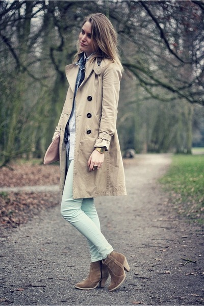 beige Massimo Dutti jacket - beige asos boots - light pink American Apparel bag
