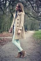 beige Massimo Dutti jacket - beige asos boots - light pink American Apparel bag