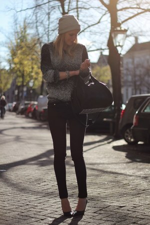 black Alexander Wang bag - charcoal gray H&amp;M Trend sweater - black Zara pants