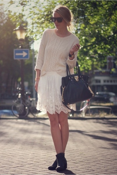 cream Zara skirt - cream Mango jumper