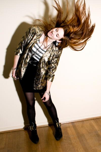 gold thrifted jacket - black frankie creeper Alexander Wang boots - black tights