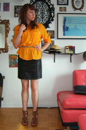 thrifted blouse - thrifted skirt - Nine West - H&M belt