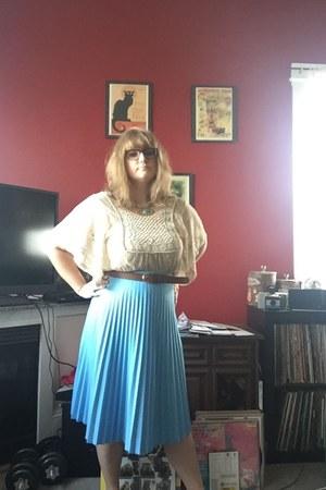 ivory Anthropologie shirt - light blue vintage skirt - bronze H&M belt