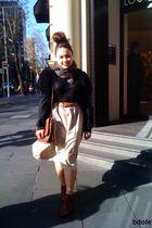 beige DIY skirt - black cardigan - brown