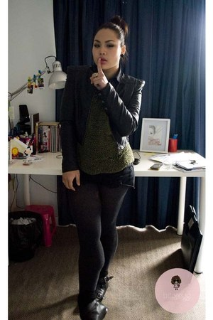 black jacket - olive green jumper