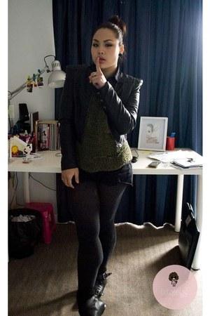 black jacket - olive green jumper