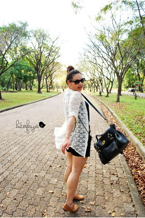 white top - black bag - brown shoes