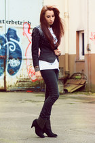 H&M blazer - boots - Cheap Monday jeans - 5 Preview t-shirt