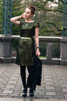 black blazer - gold velvet sequin dress - black heels