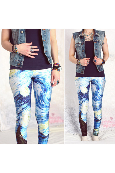 blue Sheinside leggings - navy H&M top - periwinkle jeans DIY vest