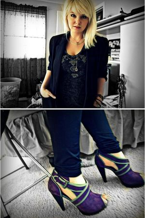 black Forever21 shirt - black thrifted jacket - purple Charlotte Russe shoes - b