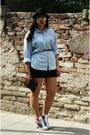 Terranova-hat-levis-shirt-handmade-by-me-bag-tally-wejil-skirt-ray-ban-g