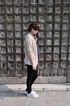 gold blazer - black leggings