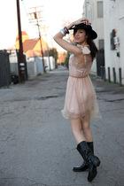 pink rodarte x target dress - black vintage hat - black Frye boots