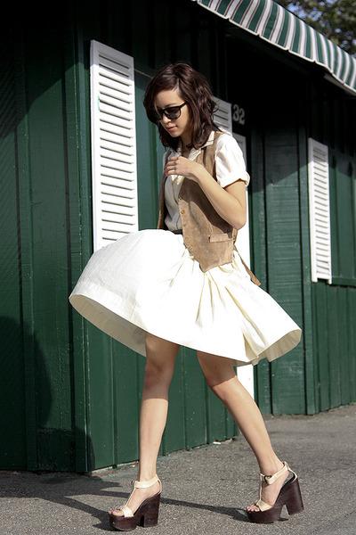 brown vintage vest - beige Giuseppe Zanotti shoes - beige vintage dress