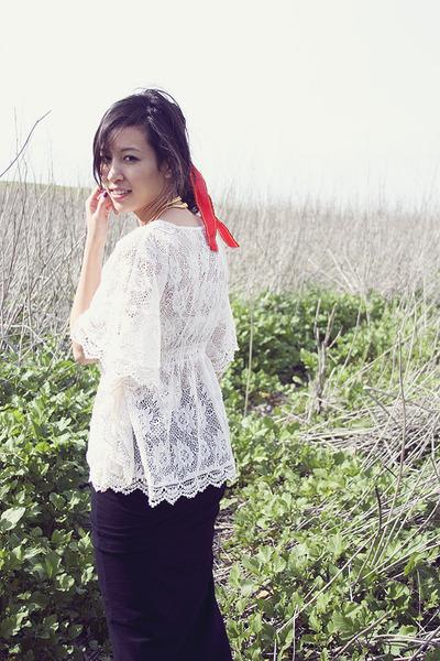 white Forever 21 blouse - black Commes Des Garcon skirt - beige maison martin ma