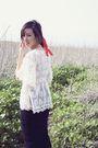 White-forever-21-blouse-black-commes-des-garcon-skirt-beige-maison-martin-ma