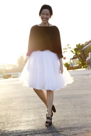 white skirt - black vintage sweater - black Dries Van Noten shoes