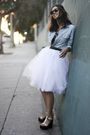 White-skirt-blue-zara-shirt-beige-giuseppe-zanotti-shoes