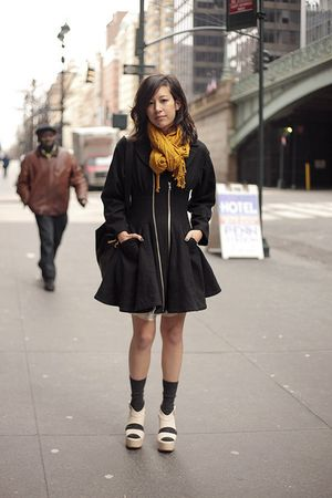 black H&M coat - gold H&M scarf - beige vera wang shoes