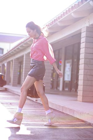 pink American Apparel shirt - brown vintage shorts - beige Opening Ceremony shoe