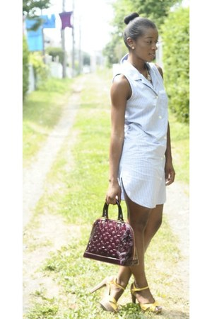 light yellow shoes - sky blue dress - crimson Louis Vuitton bag