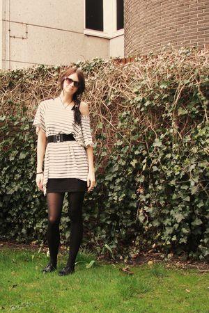 white H&M shirt - black GINA TRICOT skirt - black H&M belt - black H&M shoes