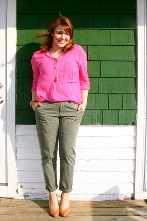 hot pink Gap blouse - forest green Gap pants - tan Urban Outfitters heels