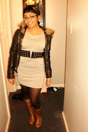 brown H&M jacket - black H&M belt - gray H&M dress - brown Target stockings - br