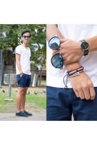 blue black ice revo zeroUV sunglasses - navy chino Roger David Stray shorts