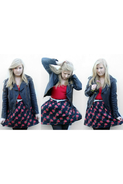 H&M vest - jacket - skirt - Newlook stockings - belt