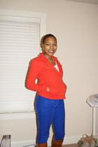 brown Dolce Vita boots - carrot orange Gap jacket - blue JC Penny pants