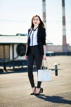 black leather Zara jacket - white leather Chanel bag - white cotton H&M t-shirt