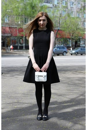 black H&amp;M dress - black Zara jacket - white Topshop bag
