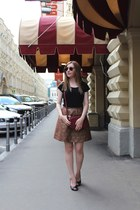 crimson RED valentino skirt - crimson SIX bag - gold ray-ban sunglasses