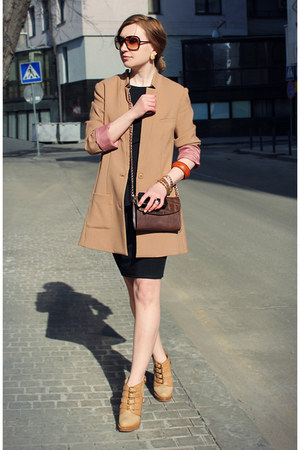 camel H&amp;M coat - black asos dress - dark brown Marina De Golle bag