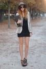 Black-topshop-dress-light-brown-fedora-asos-hat-beige-snake-skin-zara-blazer