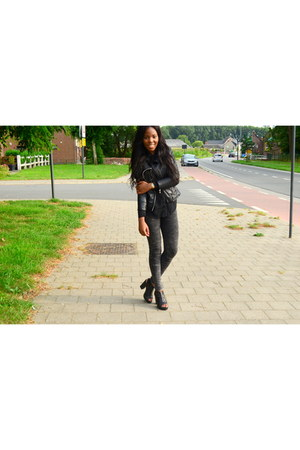 black Sacha shoes - black Zara jacket - gray Bershka pants
