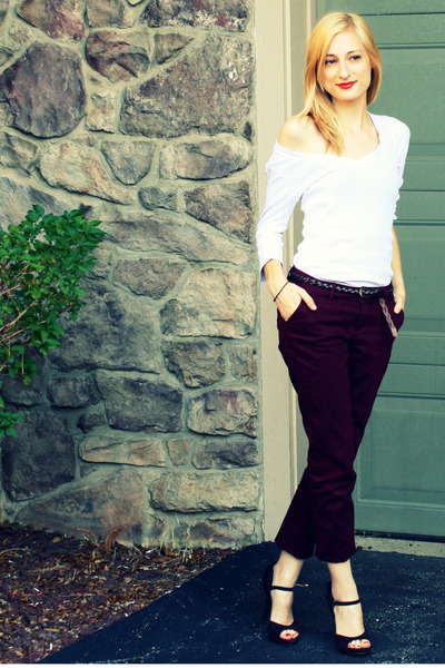 brown ruffle Fergie shoes - white Old Navy shirt - red Delias pants