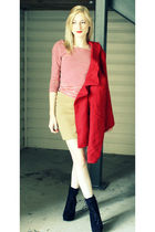 red Old Navy coat - red H&M shirt - brown H&M skirt - black Wet Seal shoes