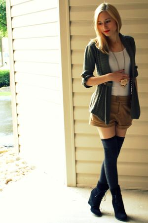 green Target cardigan - black Zara shoes - white cami Old Navy shirt