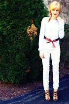 silver H&M sweater - white H&M pants - red Forever XXI tights - beige Aldo shoes
