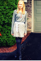 gray H&M sweater - gray Target skirt - black H&M tights - gray Target socks - bl