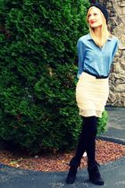 black Target hat - blue H&M shirt - beige Gruche skirt - black H&M tights - blac