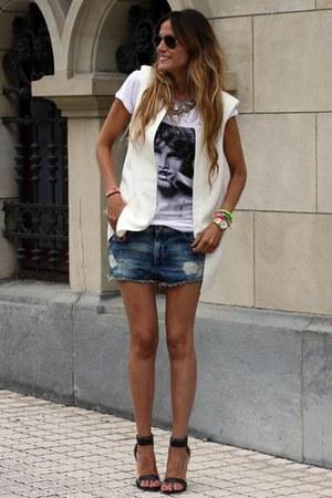 white Zara vest - white Eleven Paris t-shirt