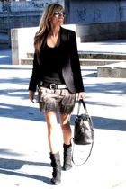 Bimba y Lola bag - Zara blazer - Zara skirt - BLANCO boots - Ray Ban sunglasses