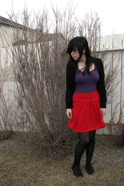 black cardigan - purple top - red Oom skirt - black tights - black Aldo shoes