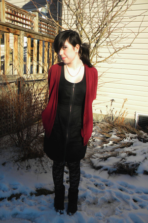 red cardigan - black BB Dakota dress - black Hot Topic tights - black boots